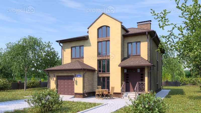 Проект двухэтажного дома со вторым светом в гостиной 181-A